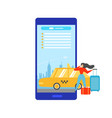 booking taxi online with mobile app concept vector image