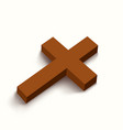 brown cross lying on white vector image vector image