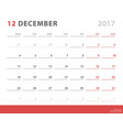 calendar planner 2017 december week starts monday vector image