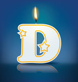 Candle letter D with flame vector image