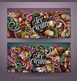 cartoon doodles ice cream banners vector image vector image