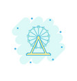 cartoon ferris wheel icon in comic style carousel vector image vector image
