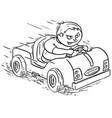 cartoon of boy driving electric or pedal car vector image