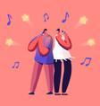 cheerful couple singing song in karaoke bar vector image vector image