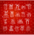 christmas gift boxes on red background with vector image vector image