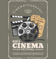 cinema festival retro poster film and tickets vector image vector image