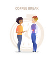 coffee break colleagues friendly conversation vector image