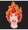 colorful hand drawn of girl with fire tattoo vector image