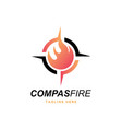 compass with fire logo vector image vector image