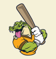 crocodile basebal mascot vector image