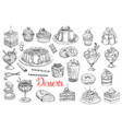 desserts and sweets pastry cakes biscuits sketch vector image
