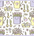 easter package with flowers seamless pattern vector image
