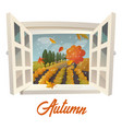 farm or garden during rain at autumn season vector image
