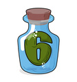 Figure 6 retro laboratory flask bottle Six in the vector image