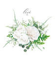 floral bouquet ivory white peony rose flowers vector image