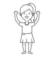 girl avatar cartoon character black and white vector image vector image