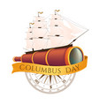 happy columbus day celebrating emblem - america vector image