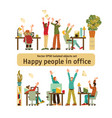happy office caucasian white people rejoices vector image vector image