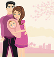 Happy Young Couple with Newborn Baby vector image