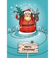 Holiday card with Santa Claus and winter landscape vector image vector image