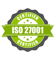 ISO 27001 standard certificate badge - Information vector image vector image