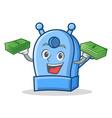 money bag pencil sharpener character cartoon vector image vector image
