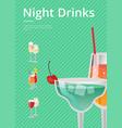 night drinks bright banner vector image