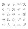 pack of mathematics doodle icons vector image