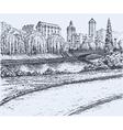 Park trees at river bridge vector image