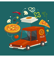 Pizza delivery car concept with food cartoon fast vector image vector image