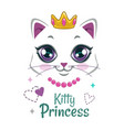 pretty kitten print beautiful white princess cat vector image
