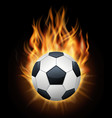 realistic burning soccer ball isolated black vector image vector image