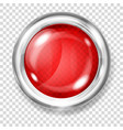 red transparent glass button vector image vector image