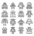 robot icons set on white background line style vector image vector image