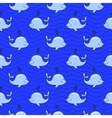 Seamless pattern with whale on blue ocean vector image vector image