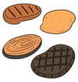 set of steak vector image