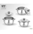 set saucepans with lid realistic 3d vector image