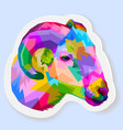 sticker colorful sheep on pop art style vector image vector image
