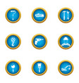 supply of materials icons set flat style vector image vector image