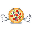 surprised margherita pizza isolated with the vector image vector image