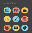 trade icons set with contract signing analytics vector image vector image