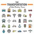 transportation filled outline icon set transport vector image