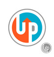 up word logo with arrow round symbol with vector image