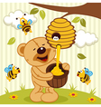 tteddy bear takes honey bees vector image