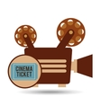 camera movie vintage ticket icon design vector image