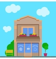 Detailed old city building with coffee shop vector image