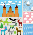Set 3 seamless background Castle Fabulous animals vector image