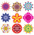 9 colorful geometric flowers graphics vector image