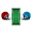 American Football Helmets and Field vector image vector image