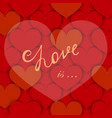background with paper hearts and lettering vector image vector image